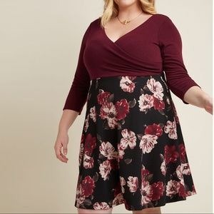 ModCloth A-Line Dress in Merlot Floral 1X